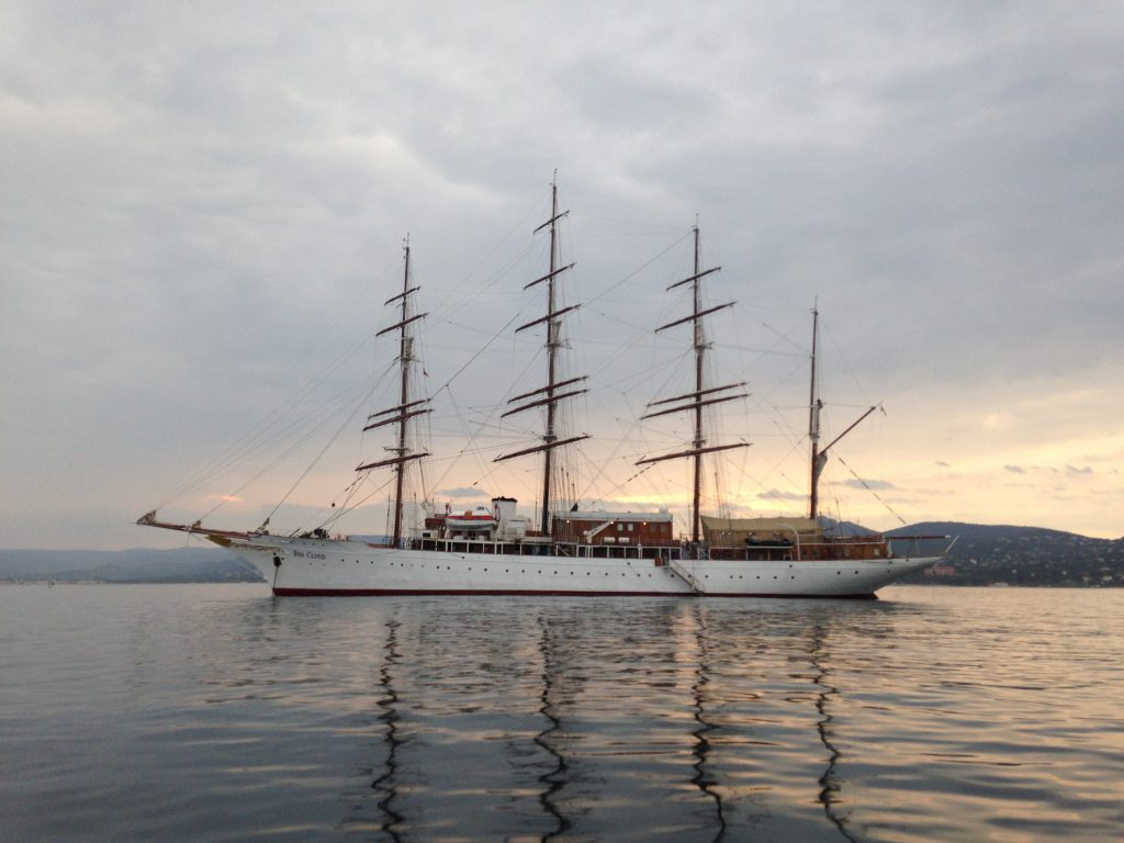 Sea Cloud at anchor in St Tropez